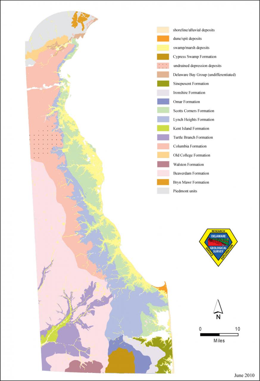 A Generalized Geologic Map Of Delaware The Delaware Geological - Delaware map