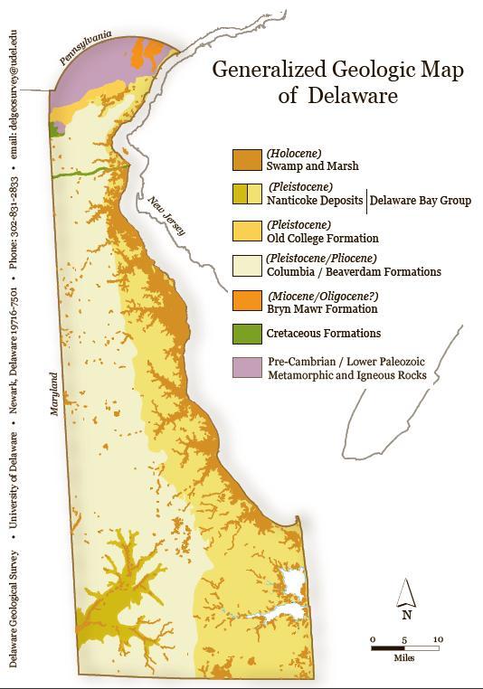 SP Generalized Geologic Map Of Delaware Postcard The Delaware - Map of delaware
