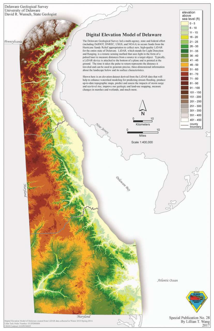 Sp28 Digital Elevation Model Of Delaware The Delaware Geological