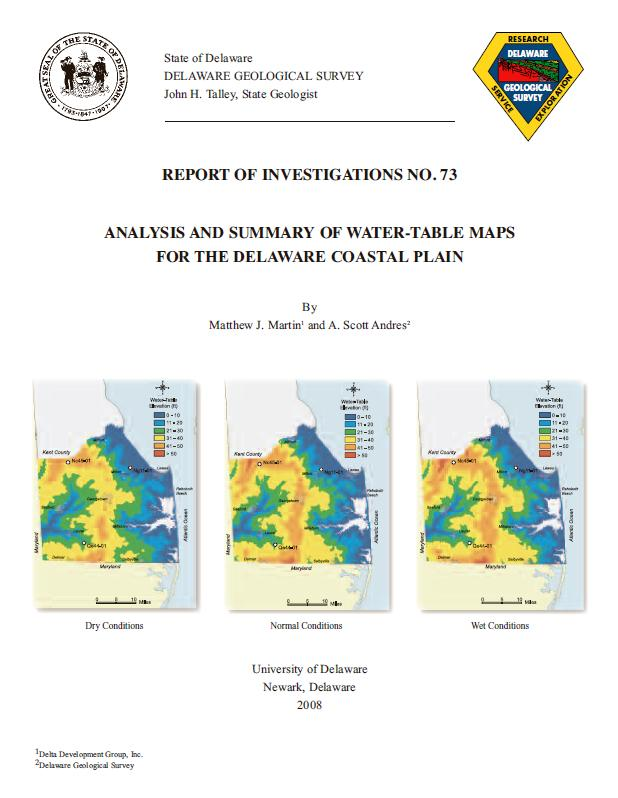Ri73 Analysis And Summary Of Water Table Maps For The